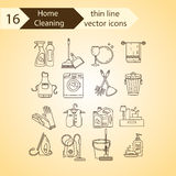 House cleaning thin line vector icon set. Stock Photo