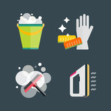 House cleaning tools vector. Home cleaning tools flat vector icons set. Vector products detergent symbols illustration. Other hygiene liquid isolated on white Stock Photos