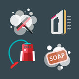 House cleaning tools vector. Home cleaning tools flat vector icons set. Vector products detergent symbols illustration. Other hygiene liquid isolated on white Stock Photo