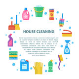 House cleaning vector banner in a flat style. Cleaning and washing household tools and liquids Stock Photo