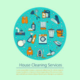 House cleaning vector card. Royalty Free Stock Photo