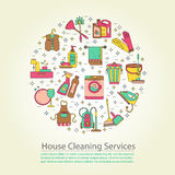 House cleaning vector card. Stock Photo