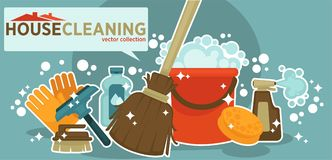 House cleaning vector collection of shiny work equipment. Isolated illustration on blue background. Wooden broom, plastic basket, bottles of cleaners, rubber Stock Photo