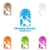 House Cleaning Vector Logo Design, Eco Friendly with shiny spray Concept isolated on white Background. Cleaning Service vector Logo design Royalty Free Stock Photo