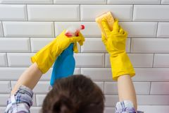 House cleaning. Woman doing chores in bathroom at home stock photo