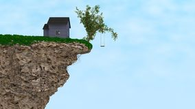 House on a Cliff. CGI, A lonely House an the edge of a cliff, with a single tree, and a swing that hangs far above stock illustration