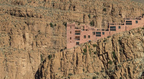 The house on the cliff of Gorges du Dades valley with small sola Royalty Free Stock Photography