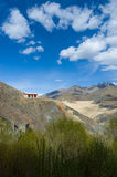 House on the cliff in Ladakh, Himalayas, Jammu and Kashmir, India. Royalty Free Stock Photos