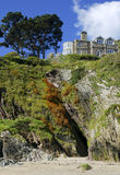 House on cliffs. In cornwall stock images