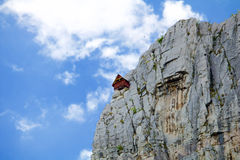House for climbers in Lakatnik cliffs. Amazing view from Lakatnik cliffs, Bulgaria Stock Image