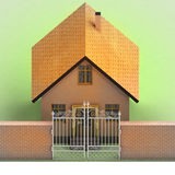 House with closed iron fence in brick wall Stock Photography