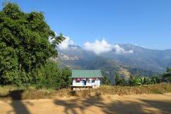 House in a beautiful mountain landscape, Khandbari, Nepal stock photography