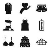 House clothes icon set, simple style Stock Images