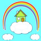 House on a cloud. Illustration of green house on a cloud under a rainbow Royalty Free Stock Photography
