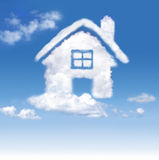 House of clouds in the blue sky Royalty Free Stock Photos