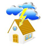 House with clouds and lightning. Vector illustration Stock Photos