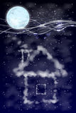 House of clouds with moon. illustration Stock Photo