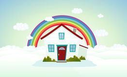 House In The Clouds WIth Rainbow Stock Photography