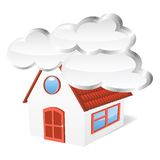 House with clouds. Vector illustration Royalty Free Stock Images