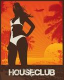 House Club Beach Girl. Vector Illustration Royalty Free Stock Photos