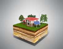 House on a clutch of land Concept of ecologically clean house 3d Stock Photography