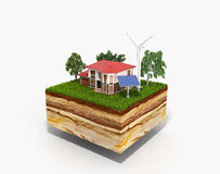 House on a clutch of land Concept of ecologically clean house 3d Stock Photo