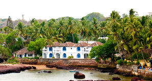 House at the coast. A old Portuguese style house located at the coast of Arabian Sea in Goa , tiny province on the Western part of India Stock Photo