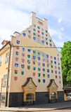 House with coats of arms of the Latvian cities in Riga. Latvia Royalty Free Stock Photography