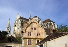 The house of coche d'eau 16 century Auxerre Stock Images