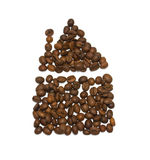 House of coffee beans. On a white background isolated Stock Photography