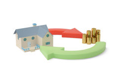 House with coins and arrow loop.3D illustration. House with coins and arrow loop 3D illustration Royalty Free Stock Photo