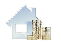 House and coins Stock Photography