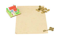 House with coins and key, on the old paper.3D illustration. House with coins and key, on the old paper 3D illustration Royalty Free Stock Photo