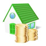 House with coins. Vector illustration Stock Images