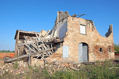 House collapsed. And abandoned after the earthquake stock image