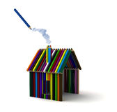 House of colored pencils Stock Image