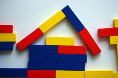 House of colored wooden blocks Stock Photo