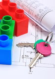 House of colorful building blocks, keys and drawings Stock Photography