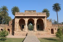 Entrance to Monument. Monument entrance in Delhi with blue sky in the background Royalty Free Stock Photo