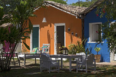 House with colorful facade, typical of Trancoso, Bahia Stock Images