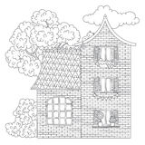 House coloring page stock illustration