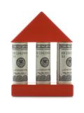 House with columns. House with dollar bills as columns isolated over white background stock images