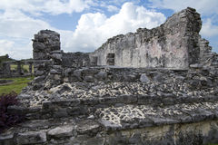 House of Columns Eastern Side. Photo of House of Columns facing westward showing interior columns from side of collapsed wall at Mayan ruins site in Tulum Mexico royalty free stock photography