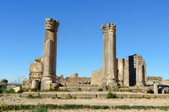 House of Columns in Roman ruins, ancient Roman city of Volubilis. Morocco Royalty Free Stock Photo