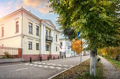 House with columns. On the Volga embankment in the autumn Ples early in the morning Stock Photography