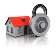 House and combination lock. 3d illustration of house and combination lock, security system concept vector illustration