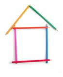 The house combined from colour pencils(11).jpg Royalty Free Stock Image