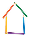 The house combined from colour pencils. On a white background vector vector illustration