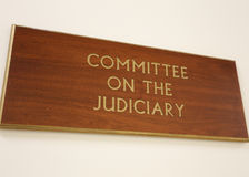 House Committee on the Judiciary. Washington, DC, USA - July 18, 2017: A sign at the entrance to a House Judiciary Committee hearing room. The United States stock photos