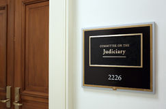 House Committee on the Judiciary. Washington, DC, USA - July 18, 2017: A sign at the entrance to a House Judiciary Committee hearing room. The United States royalty free stock photo